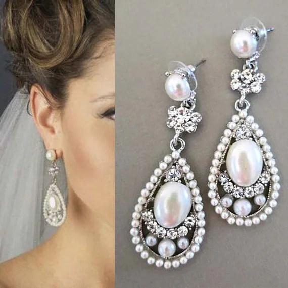 Bridal Drop Earrings, Bridal Earrings with Pearl, Wedding
