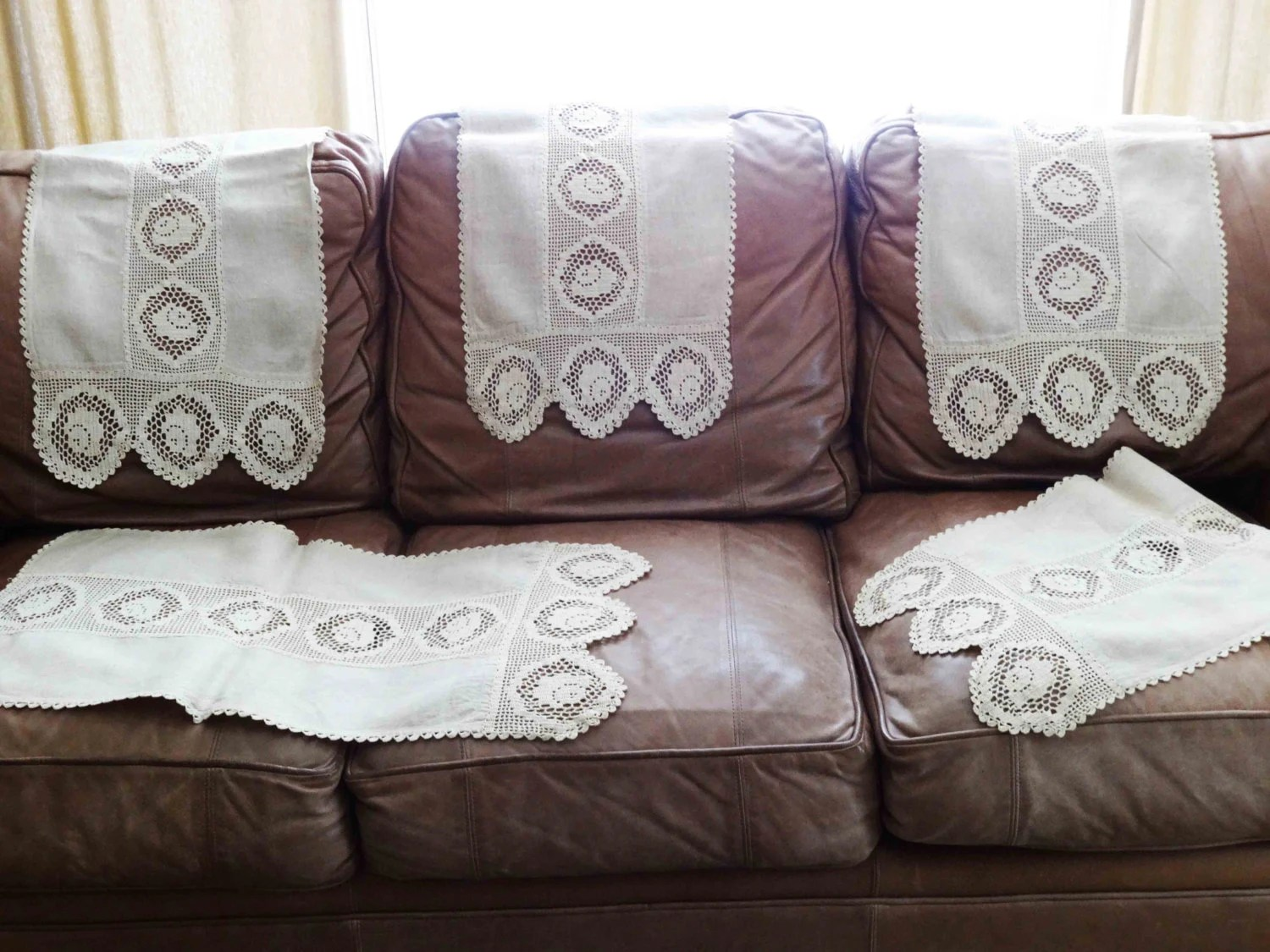 chair covers vintage baby roomba linen and crochet lace back or table