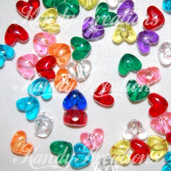 Heart Shaped Pony Beads In Bright Translucent Colors