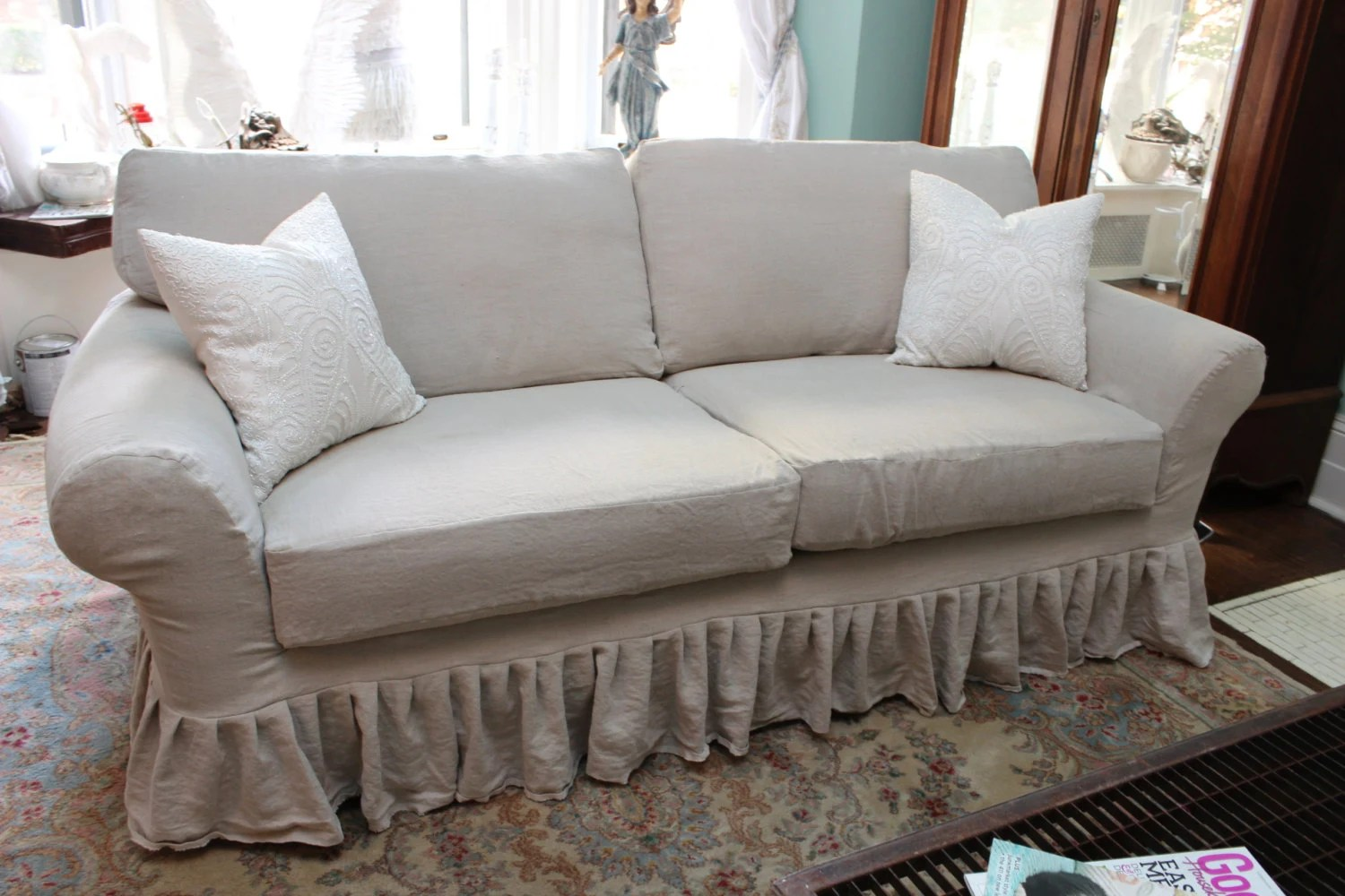 ruffled sofa slipcover turquoise bed shabby chic couch ruffle by