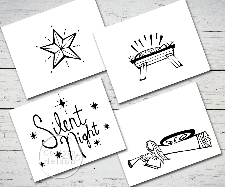 Silent Night Printable Christmas Nativity Card Set Of 4