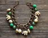 Elephant Double Good Luck Charm Bracelet in Jade and Ivory - Vintage Assemblage