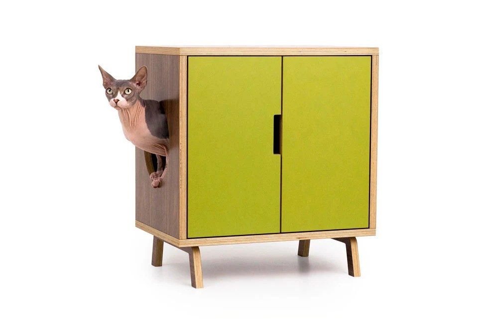 Mid Century Modern Cat Litter Box Furniture Small By