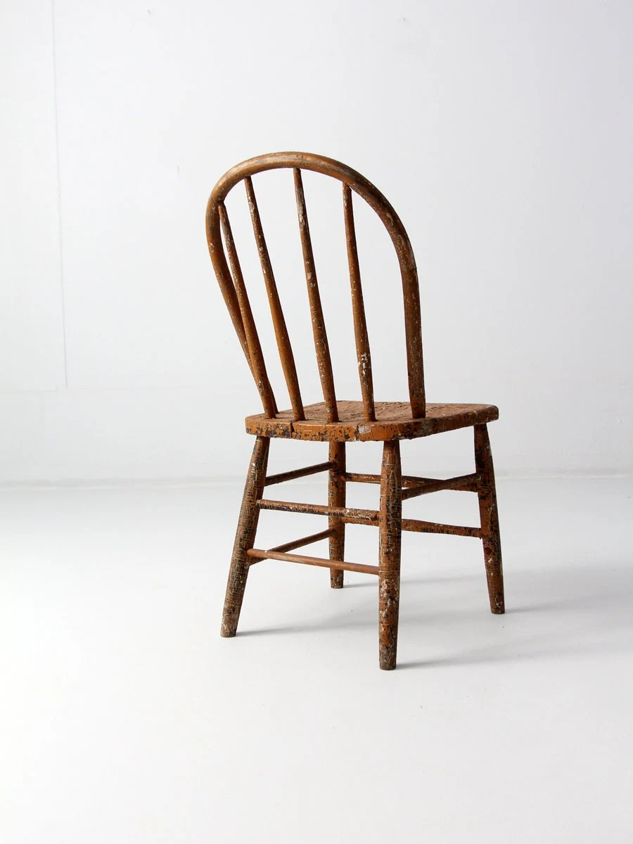 antique primitive spindle back chair by 86home on Etsy