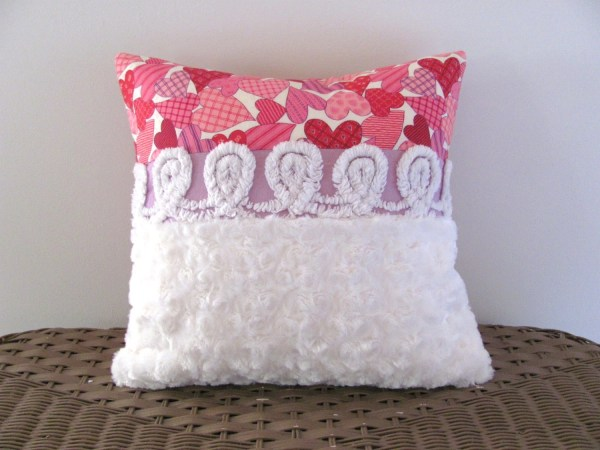 Purple Chenille Pillow Cover 14 X Happy Hearts Pink Cushion