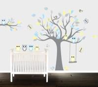 Boys Grey yellow owl wall decals nursery Wall stickers