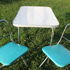 Formica Table And Chairs Wicker Patio Vintage 1950s 1960s Teal Turquoise Childrens