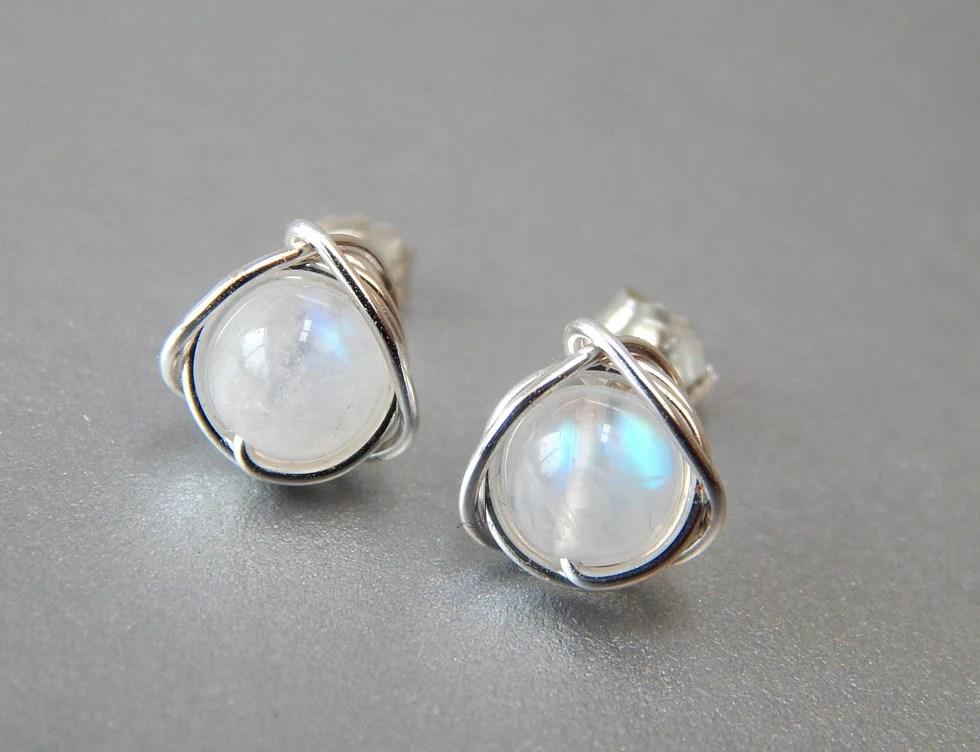 Rainbow Moonstone Stud Earrings Genuine Moonstone Earrings