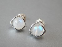 Rainbow Moonstone Stud Earrings Genuine Moonstone Earrings