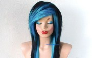scene wig. emo black turquoise