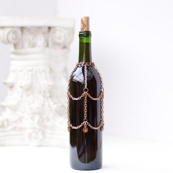Antique Brass Wine Bottle