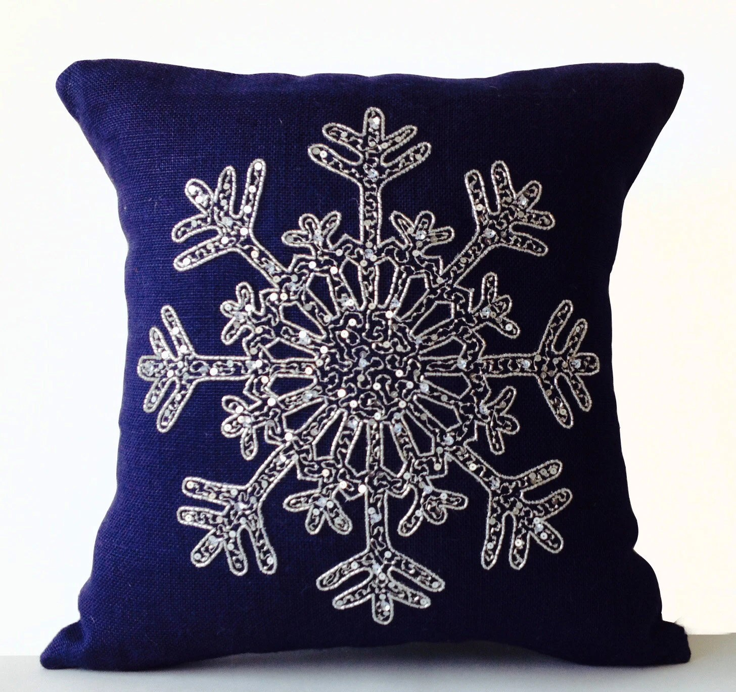 Silver Sequin Pillow Snowflake Navy Blue Pillows Cover