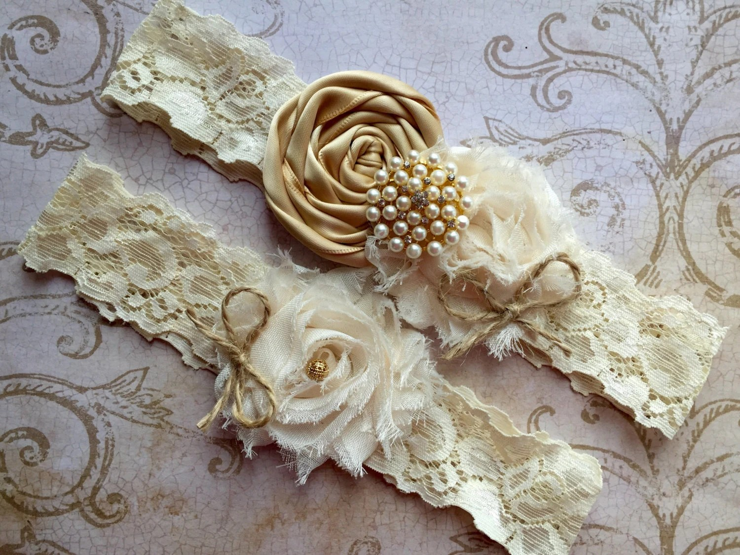 Gold Wedding Garter Rustic Wedding Garter Rustic Garter