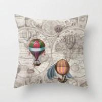 Hot Air Balloon Pillow Throw Pillow maps steampunk decor