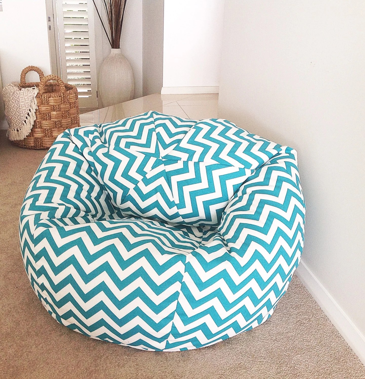 bean bag chairs for teens fake wood adirondack chevron cover adults kids turquoise zig