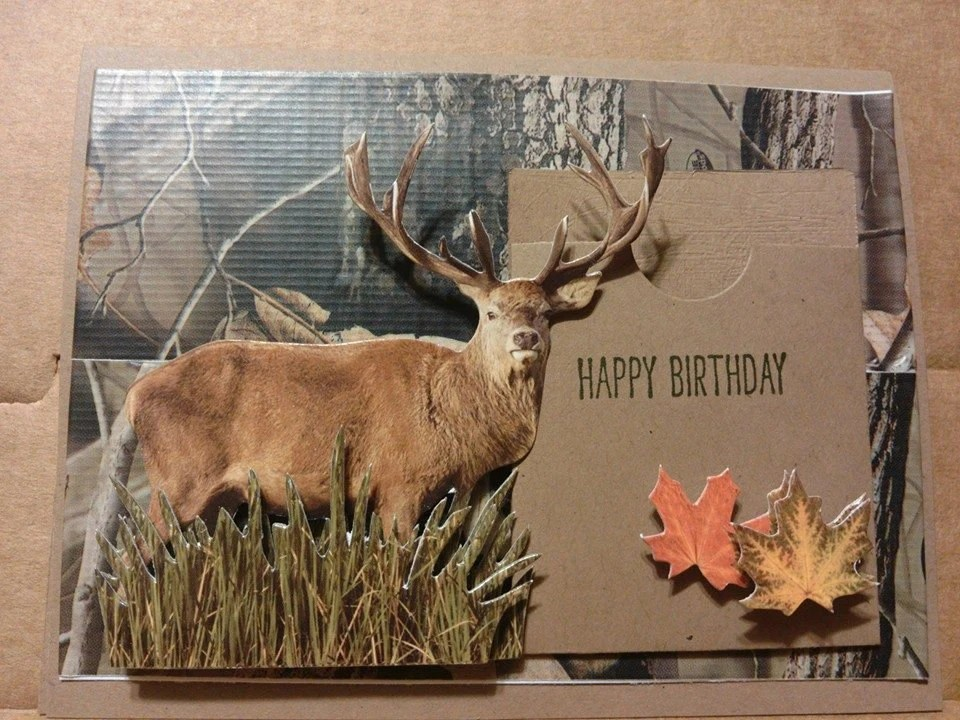 Art Greeting Card For Him Hunter Hunting Deer Cabin Picture
