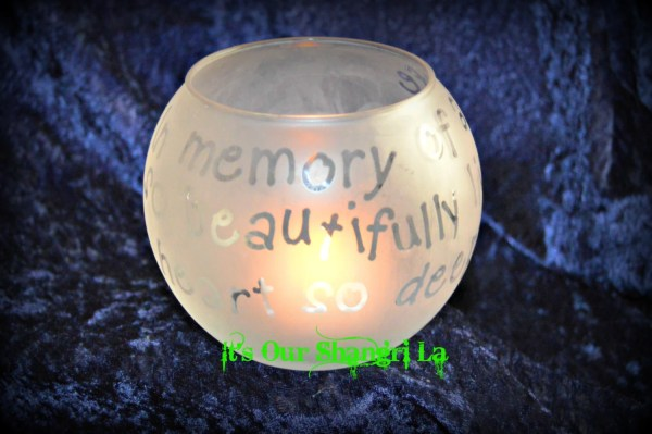 Memorial Candle Holder Etched In Memory Of Life