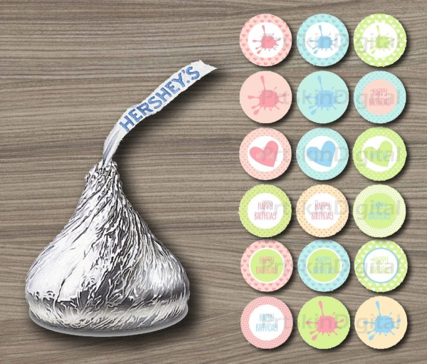 Chocolate Kisses Labels Pastel Printable Stickers Hershey