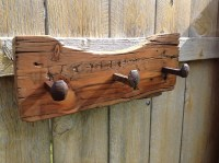 Vintage Rustic Barn Wood Coat Rack Railroad spikes Western