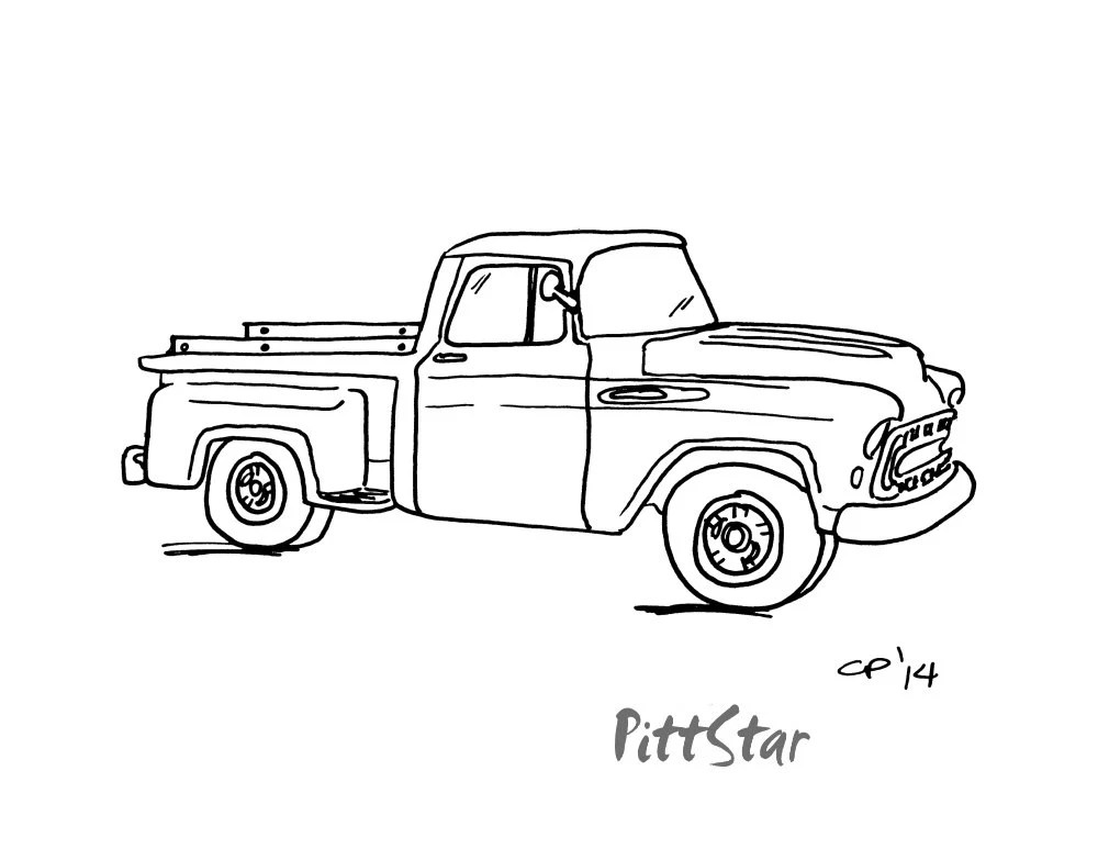 57 Chevy Bel Air Drawing Sketch Coloring Page