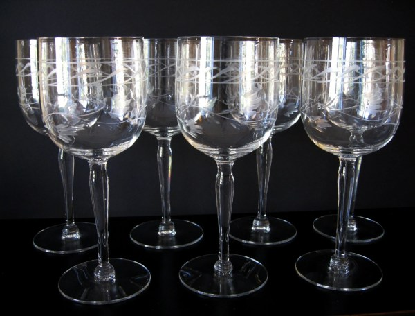 Vintage Etched Crystal Tall Wine Glasses Flower And Vine