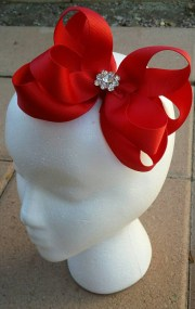 big red hair bow headband stacked