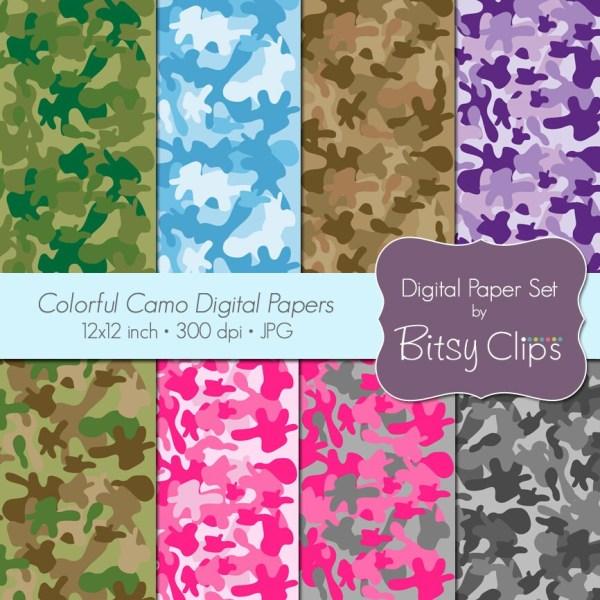 Colorful Camo Papers Digital Paper Set Scrapbook Instant