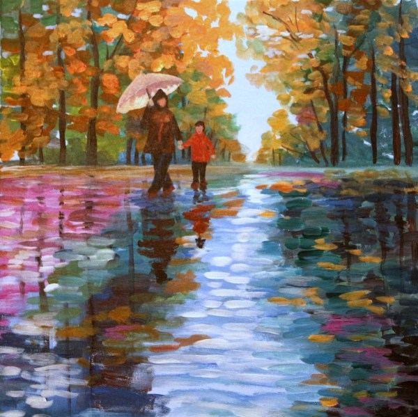 Paintings of Rainy Days with Acrylics