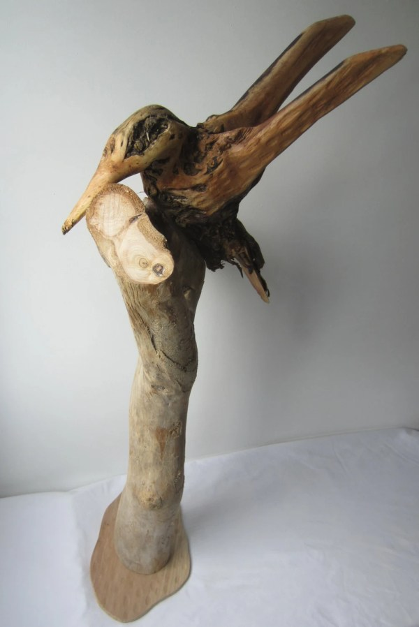 Hand Carved Kingfisher Driftwood Sculpture Wood