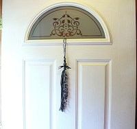 Decorative Door Beads Beaded Door Tassel Black Ribbon and
