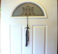 Decorative Door Beads Beaded Door Tassel Black Ribbon and