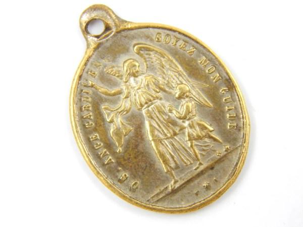 French Antique Guardian Angel Catholic Medal Ange Gardien
