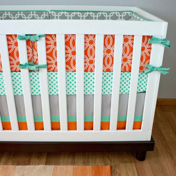 Mint Orange Gray Baby Bedding Nursery Circle Chain