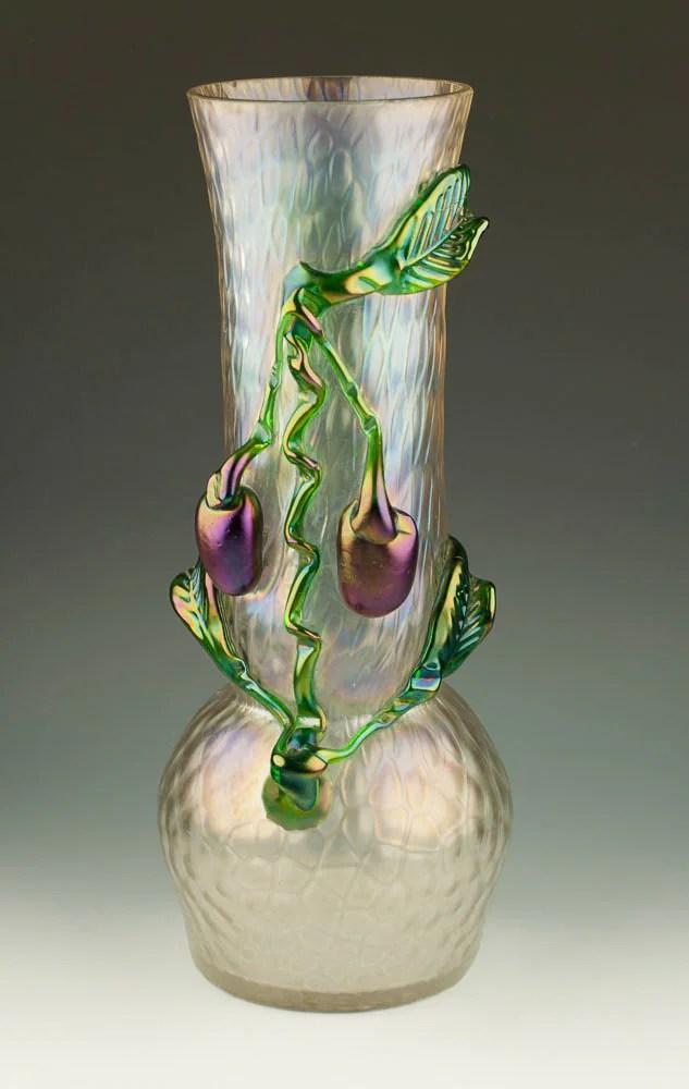Kralik Antique Bohemian Iridescent Plum Glass Vase with