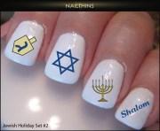 jewish holiday set 2 hanukkah nail