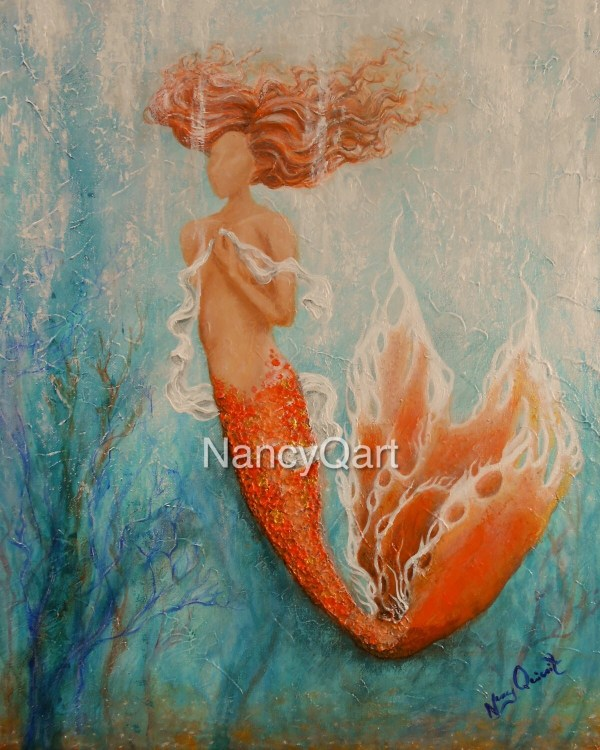 Mermaid Art Original Painting 16x20