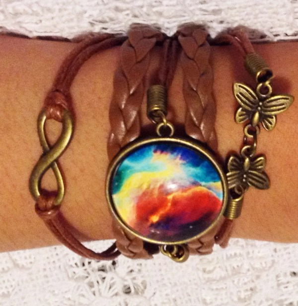 Turquoise Dragon Bracelet Braided Leather Galaxy Bracelet with