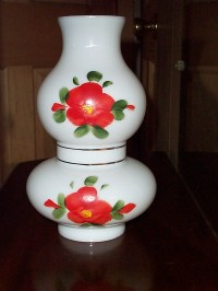 Items similar to Hand Painted Milk Glass Hurricane Lamp ...