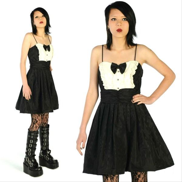 Rad Faux Bois 80' Black Tuxedo Dress Punk Prom