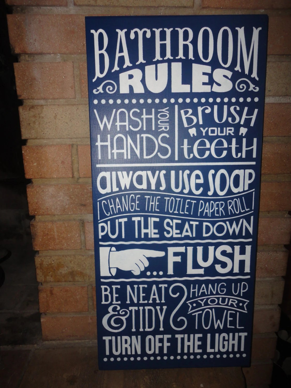 Navy BATHROOM Sign Home Decor SignBathroom Rules Hand