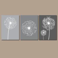 DANDELION Wall Art Gray Bedroom Pictures CANVAS or by
