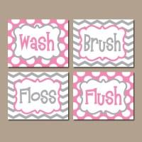 Pink Gray Bathroom Wall Art CANVAS or Prints BATHROOM RULES