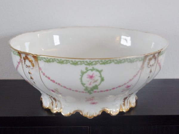 Antique Limoges Footed Serving Bowl In Gold Trim Garland