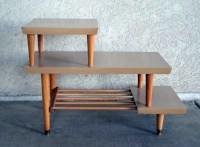 Vintage Mid Century 3 Tier Side Table in Blonde Wood