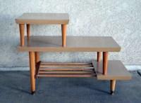 Vintage Mid Century 3 Tier Side Table in Blonde Wood