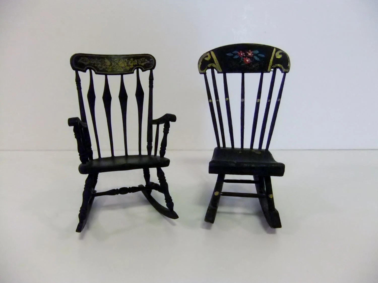 mini rocking chair cushioned office vintage chairs miniature doll house rocker black