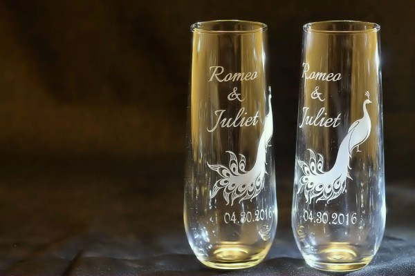 Personalized Stemless Wedding Peacock Toasting Flutes