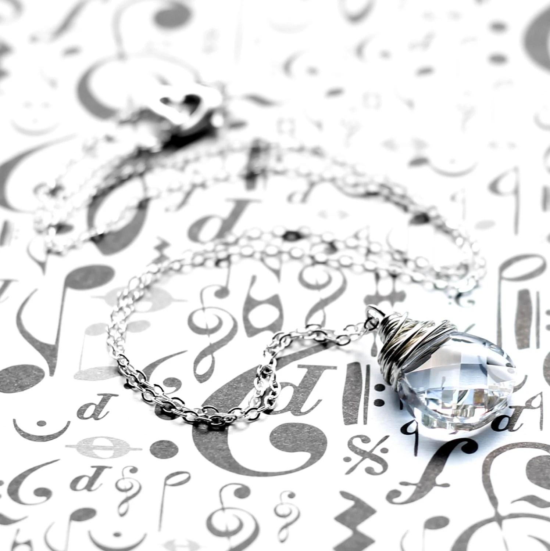 Clear Crystal Pendant Necklace Sparkling Swarovski Crystal