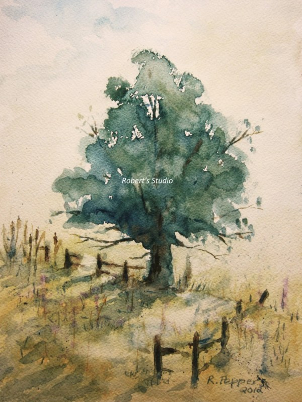 Landscape Print Of Original Watercolor Painting Used