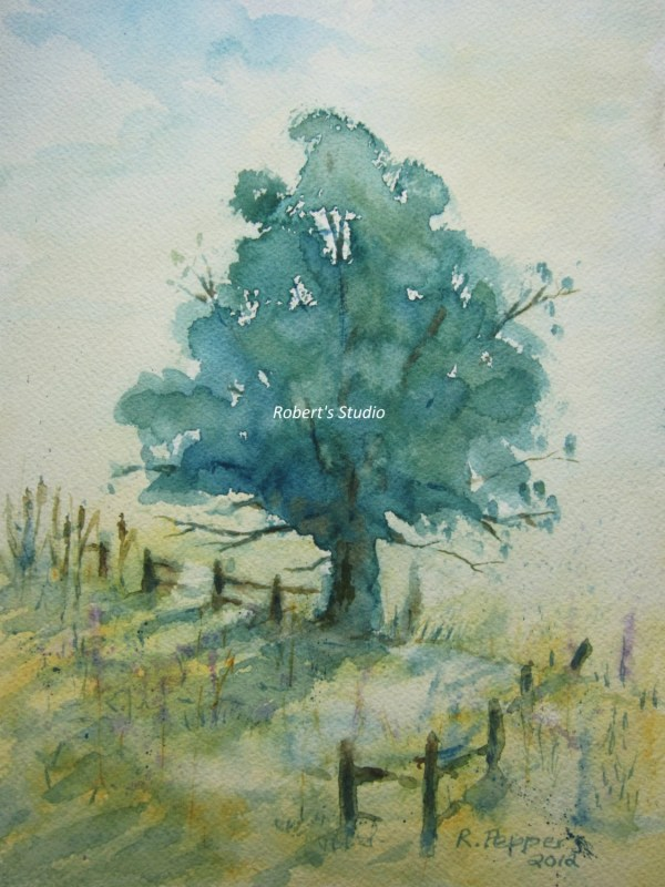 Landscape Print Of Original Watercolor Painting Tree